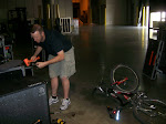 backstage becomes the bike work room...as if Pete didn't have anything better to do