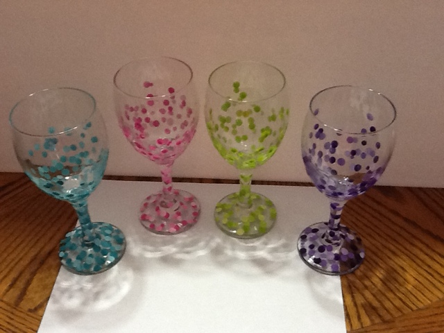 Nicole 39 s blog wine glasses decorated with acrylic paint for Can i paint glass with acrylic paint