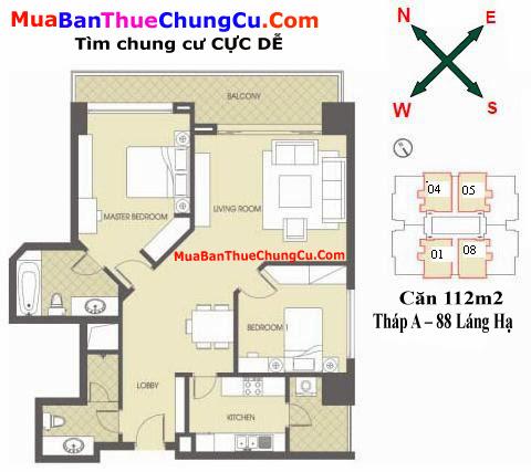 Thiết kế căn hộ 112m2 Tháp A Chung cư 88 Láng Hạ