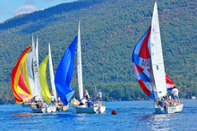 J/24s sailing Lake George Changing of Colors Regatta