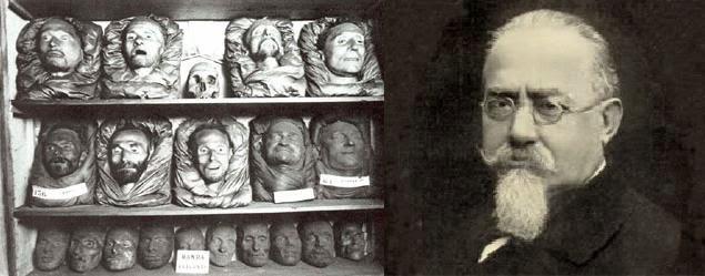 Cesare Lombroso ao lado dos rostos que provariam sua Teoria do Criminoso Nato. Fotomontagem: autor desconhecido.