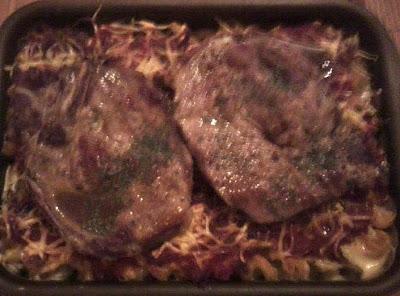 Gratin de serpentini aux champignons et cotes de porc 2