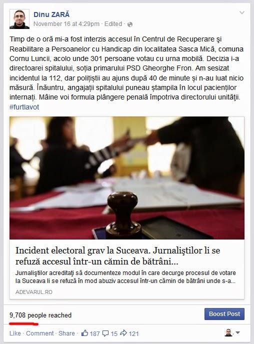 Dinu Zară pe Facebook: Incident electoral grav la Sasca Mică