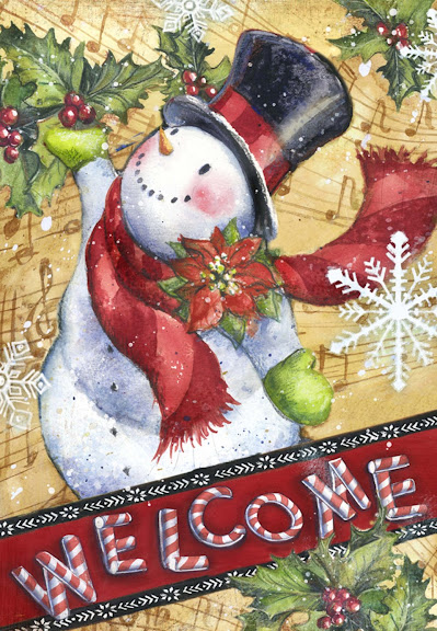 Toland Candy Cane Snowman 28 x 40 in. Outdoor House Flag