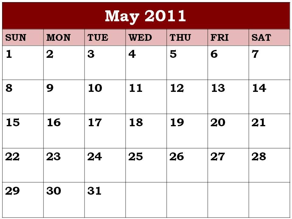 may calendar 2011 blank. Free Blank Planner May 2011