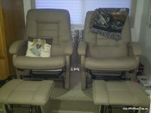 New chairs in the motorhome.