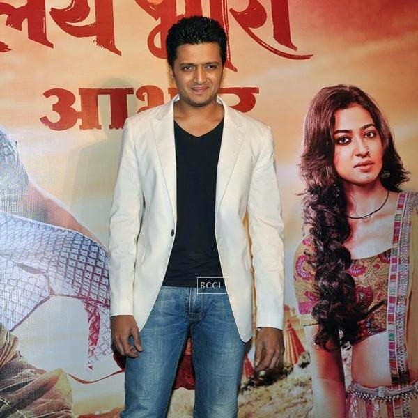 Riteish Deshmukh clicked on stage during the success meet of Marathi movie Lai Bhaari, held at Orchid, on July 14, 2014.(Pic: Viral Bhayani)