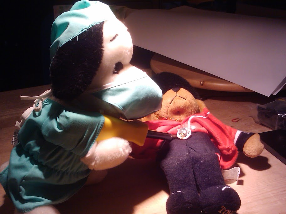 [Snoopy doing surgery on Buckingham Palace Bear]