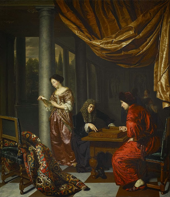 Frans van Mieris the Elder - Interior with Figures Playing Tric-trac - Google Art Project