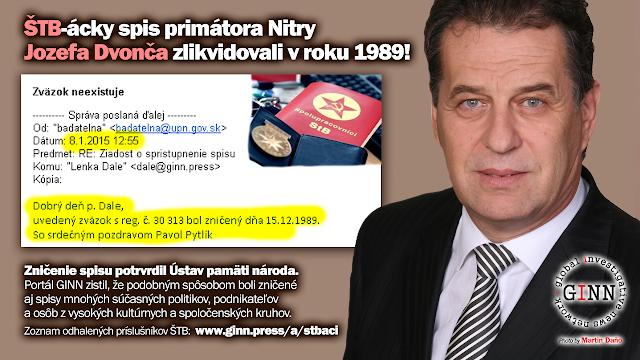 Jozef Dvonč, primátor Nitra, ŠTB, príslušník ŠTB spis