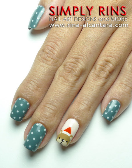 Santa Bear Nail Art Design