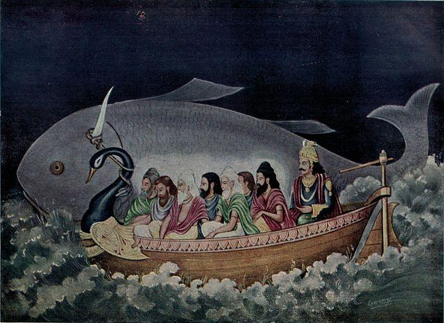 https://upload.wikimedia.org/wikipedia/commons/thumb/d/d4/The_fish_avatara_of_Vishnu_saves_Manu_during_the_great_deluge.jpg/640px-The_fish_avatara_of_Vishnu_saves_Manu_during_the_great_deluge.jpg
