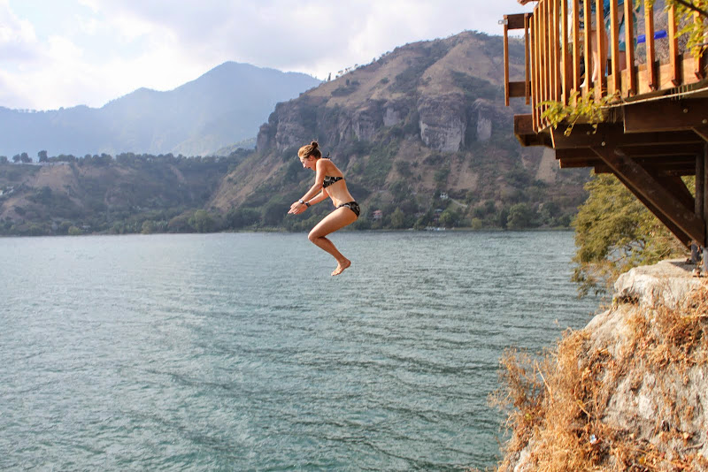 Jumping off the cliffs at the Trampoline.  From Hit The Road to Antigua: Top Five Road Trip Destinations of Guatemala