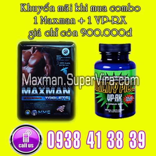 Maxman 3800mg khuyến mãi đặc biệt Combo 1 Virility Pills VP-RX và 1 Maxman chỉ vơi giá 900.000đ