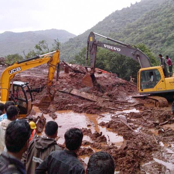 Earth-moving machinery has been pressed into service but the rescuers are moving slowly to avoid causing harm to the possible survivors, Pune collector Saurav Rao had earlier said, adding the operation to clear the rubble was on.
