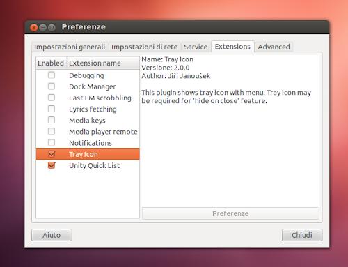Nuvola Player 2.0 nuova gestione delle estensioni