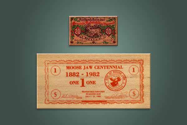 Uang dari lembaran kayu