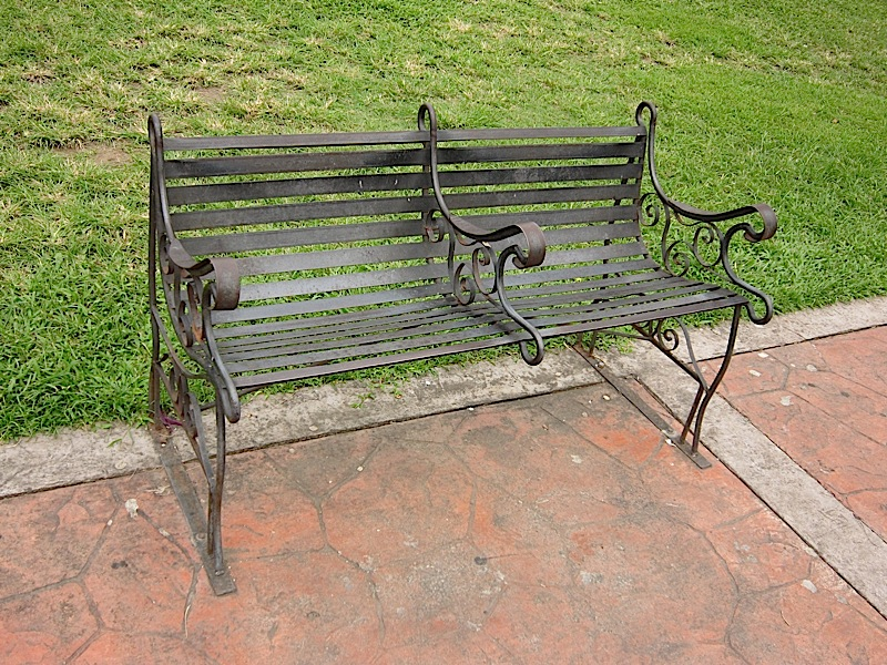 wrought iron bench at the Rizal Park