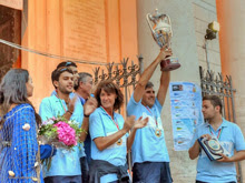 J/24 sailors winning in Anzio, Italy