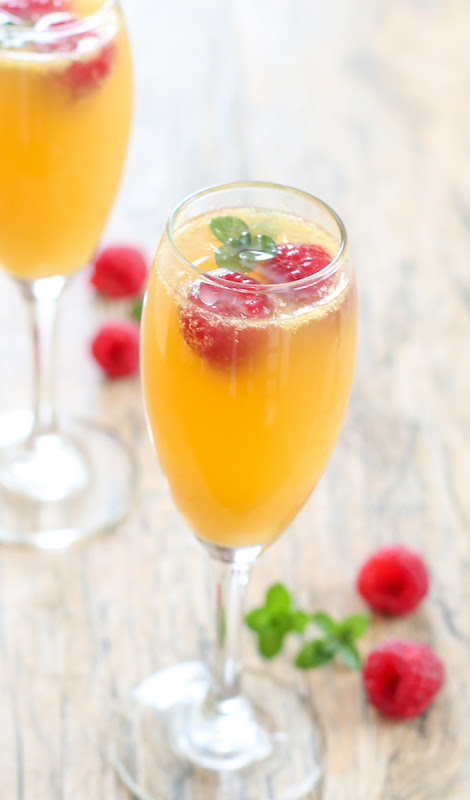 one sweet tea mimosa in a champagne glass