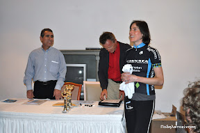 Photo of Christine during the awards ceremony after the first stage of the Tour of Cyprus 2010