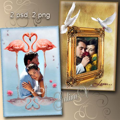 Рамки для влюблённых - Розовые фламинго и белые голуби