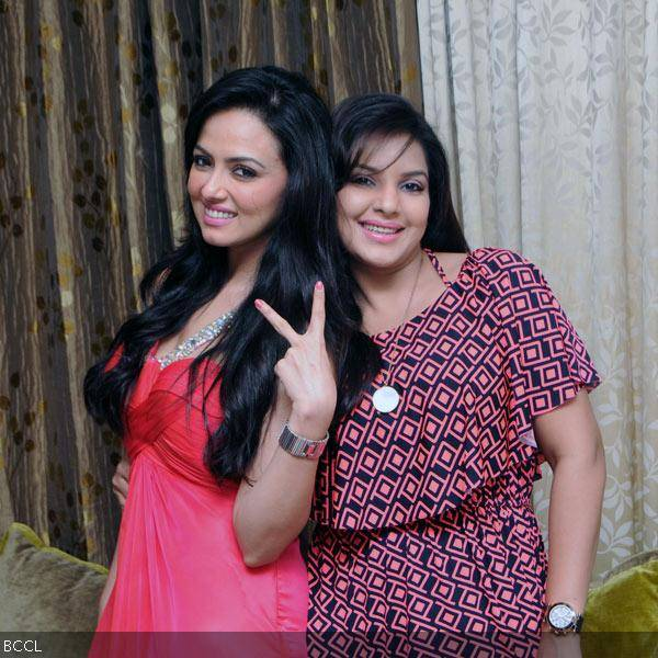 Sana Khan and Mansi Pritam pose together during former's 26th birthday celebrations in Mumbai on August 21, 2013. (Pic: Viral Bhayani)