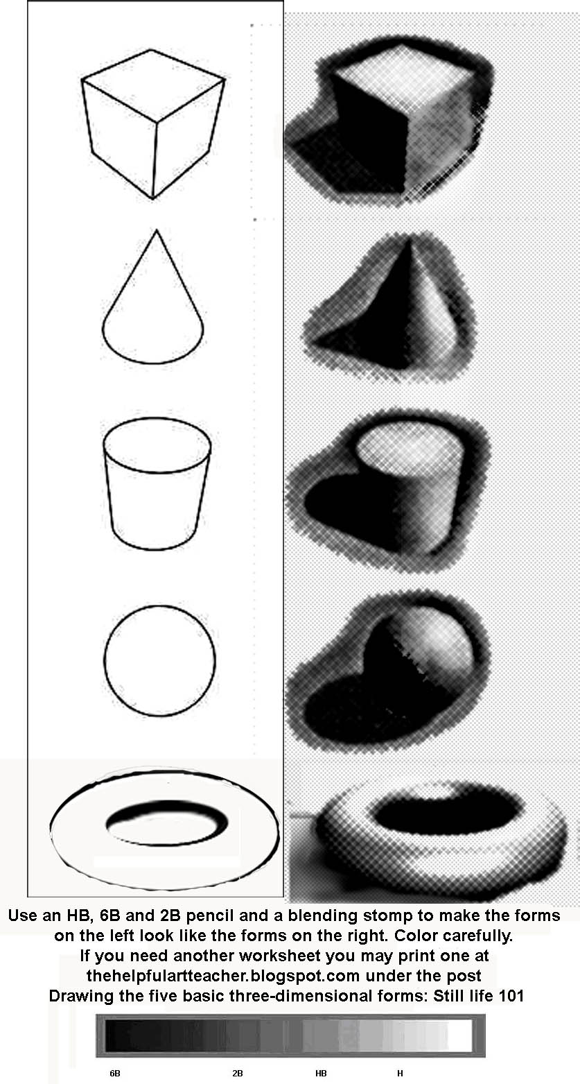 Basic Elements of Drawing Printable Shading Worksheet