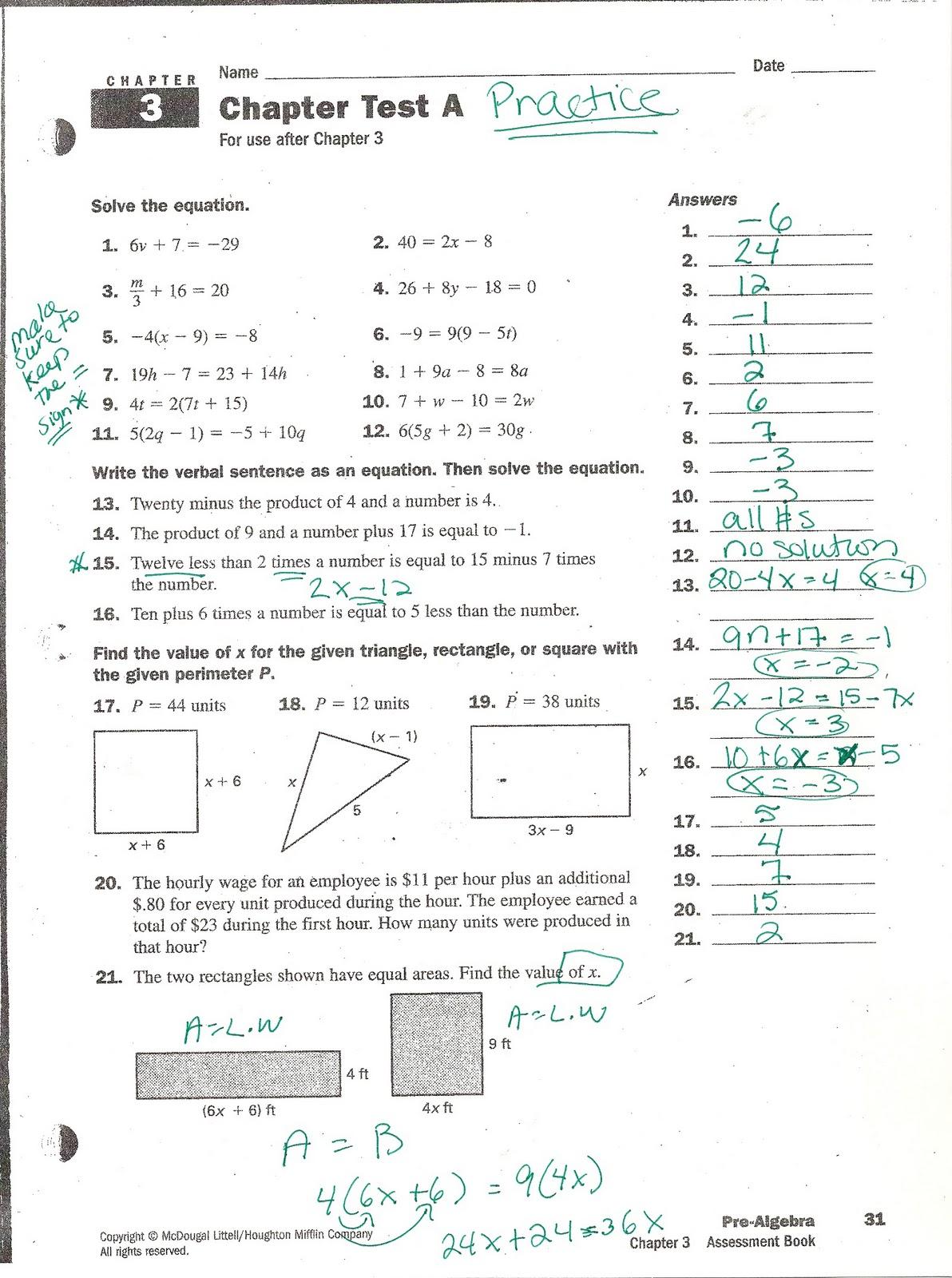 Prentice Hall Mathematics Algebra 1 Chapter 9 Test ...