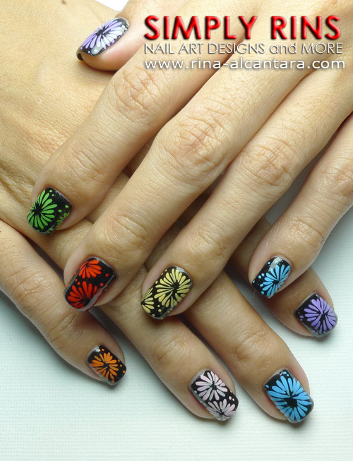 Fireworks Nail Art by Simply Rins