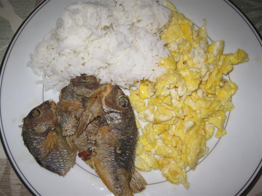 my tabletop dried fish and scrambled egg