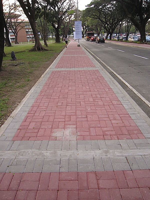 brick sidewalk at the Ateneo de Manila University