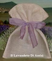 Sacchetto in lino con merletto lavanda