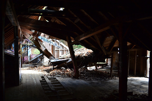 upper level of the collapsing barn