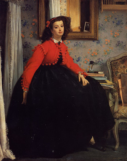 James Tissot - Portrait of Mademoiselle L.L. (Young Woman in a Red Jacket) 1864
