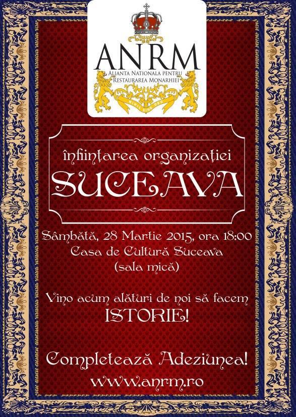Filiala Suceava a Alianței Naționale pentru Restaurarea Monarhiei se înființează sâmbătă