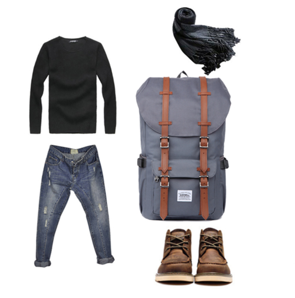Look sac à dos vintage avec chaussure pull et écharpe