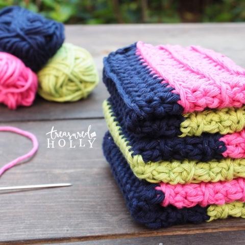 Striped Modern Dishcloth Free Crochet Pattern Treasured By Holly