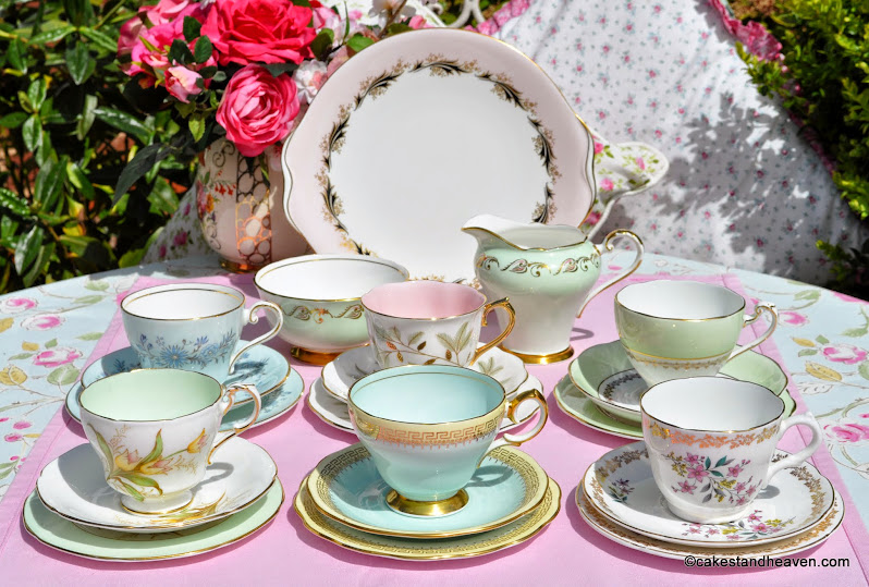 Mismatched vintage bone china 21 piece tea set in pastel colours
