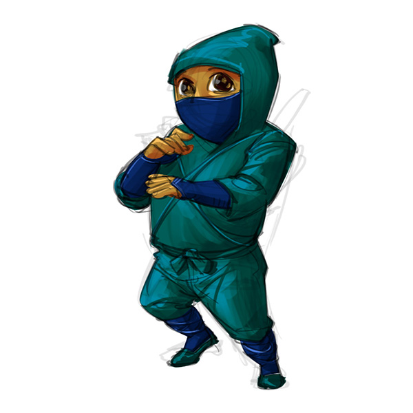 cartoon cute ninja baby boy sketch
