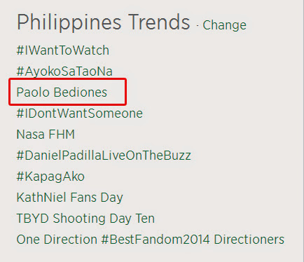 Paolo Bediones trends on Twitter