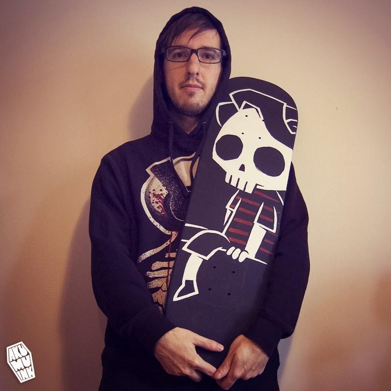 skateboard, skateboard artist, customize skateboard, custom skateboard art, akumuink, skateboards for hope, skateboard skull art, longboard artist