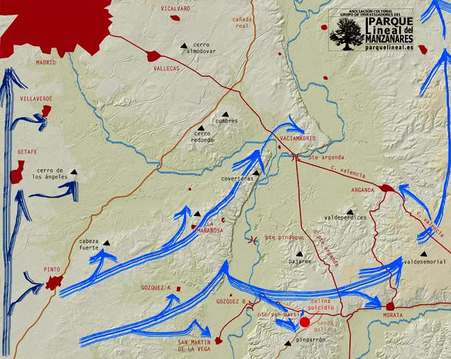 Avance nacionalista previsto. Batalla del Jarama.
