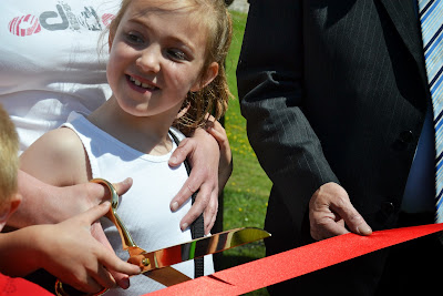 08-06-2013 - By Scott Campbell (+44) 0774 296 870 - Jubilee Park's official opening, in Cumbernauld Village; Picture shows child preparing to cut the ribbon.
