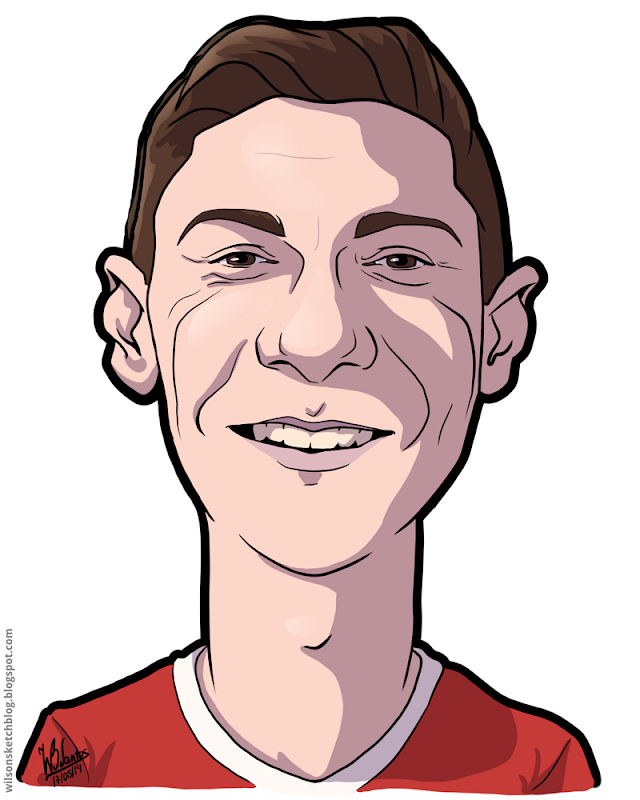 Cartoon caricature of Guilherme Madalena Siqueira.