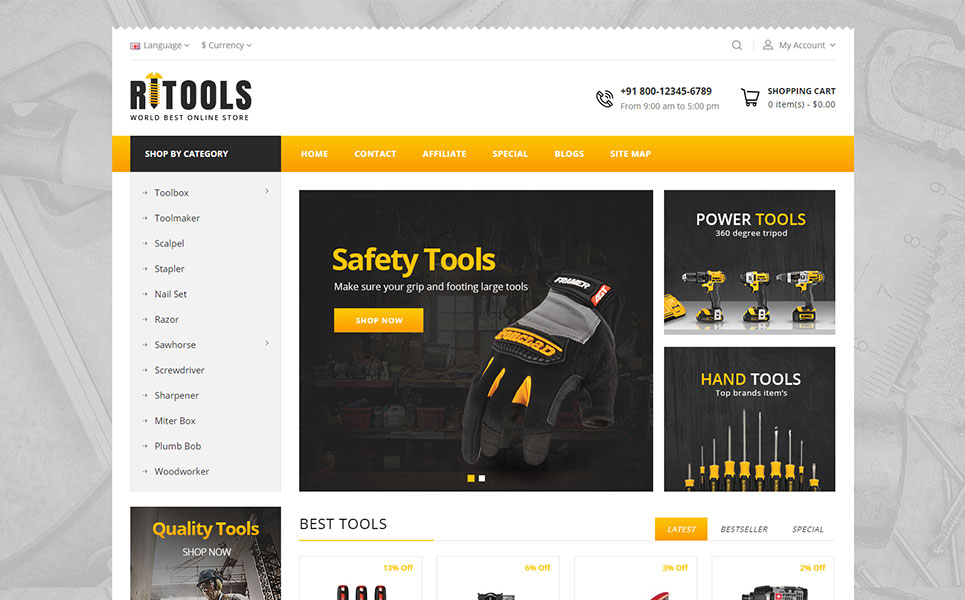Online Tools Store OpenCart template