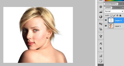 Após atalho: fundo em uma camada, Scarlett em outra