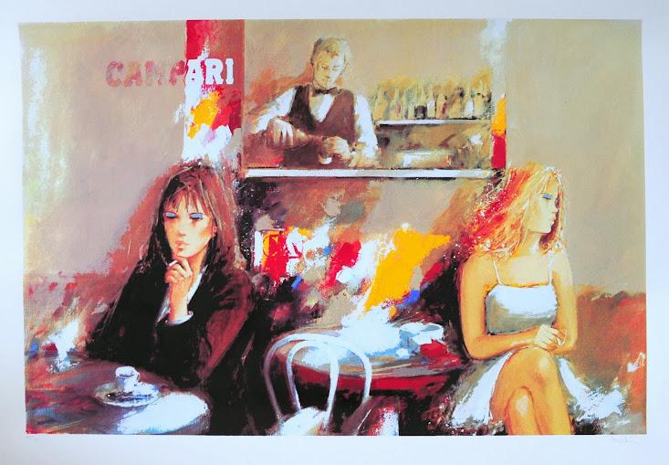 Giuliano Trombini serigrafia 35 x 100 Al Bar