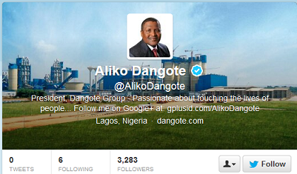 Dangote on Twitter