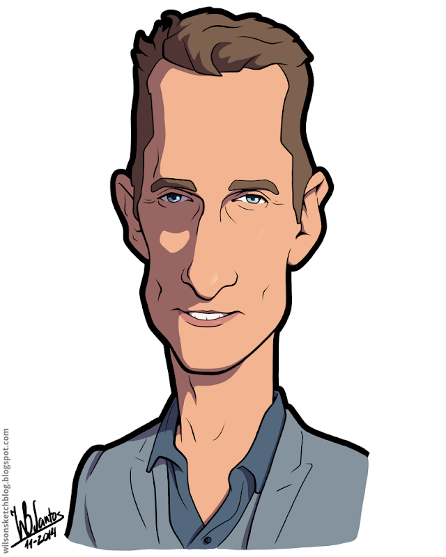 Cartoon caricature of Matthew McConaughey.